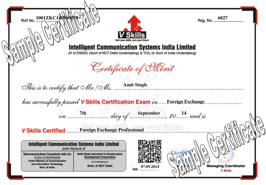Foreign Exchange Sample Certificate