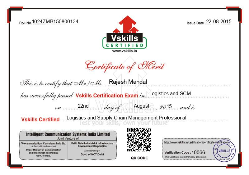 Rajesh Mandal Certified Logistics And Supply Chain Management