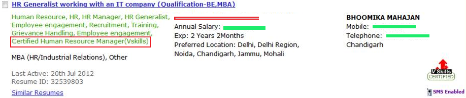 Candidate's CV tagging as shown in search result
