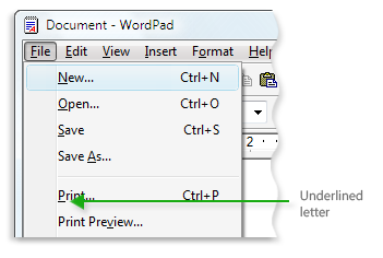 Picture of Microsoft WordPad menu showing underlined letters in menu commands