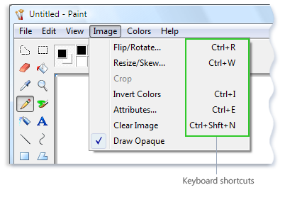 Picture of the Microsoft Paint menu showing keyboard shortcuts next to menu commands