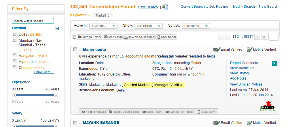 Vskills certified Candidate's CV tagging as shown in job search result on Shine.com