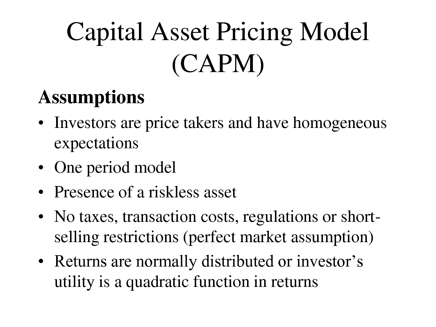 capital asset pricing model capm vs arbitrage pricing With increasing doubt about the validity of the one-factor capital asset pricing  model in pricing financial assets, development of newer models.